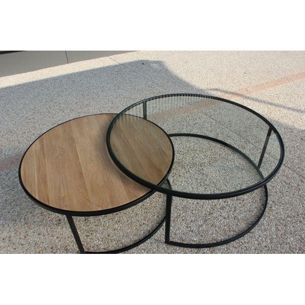 Table Basse Ronde Double Prado Industriel D X H Plateau En Chene Et En Verre