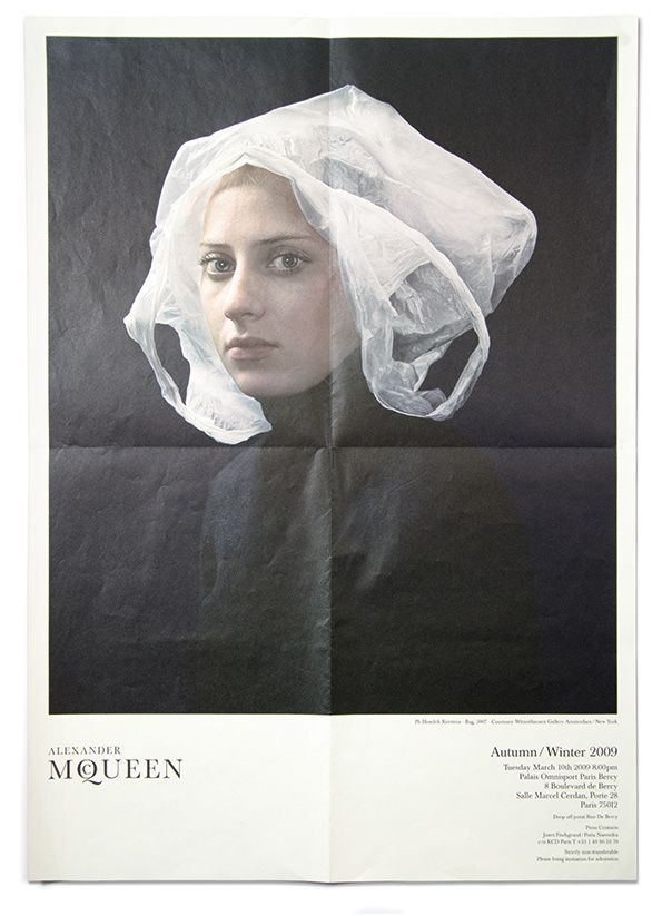"Alexander McQueen's invitation to his last show ""The Horn Of Plenty"" Autumn - Winter 2009 - Invitation Strictly Personal: ""40 years of fashion Show Invites"" is available now published by Goodman Books. Photographer Hendrik Kerstens is not just imitating Flemish Paintings. As the series progressed, he became increasingly interested in creating a conceptual dialog between past and present. The titles give the game away. ""Napkin"" looks like a maid's bonnet. In ""Bag"", a plastic grocery bag is…"