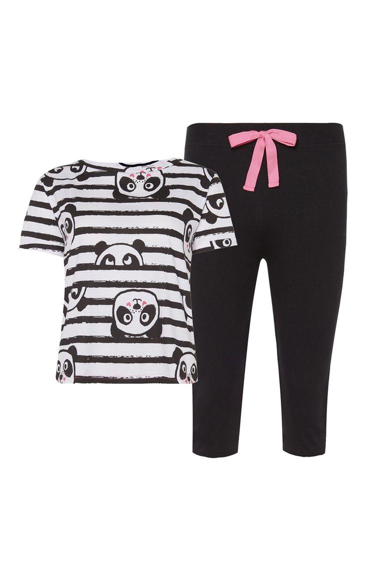 Pyjama avec haut motif panda et bas style legging court 7€