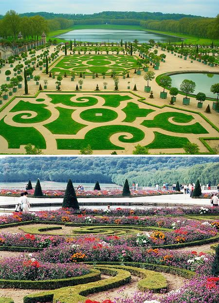 Versailles – France  Probably the world's most famous garden, it was built for Louis XIV and designed by Andre Le Notre. The laying out of the gardens required enormous work. Vast amounts of earth had to be shifted to lay out the flower beds, the Orangerie, the fountains and the Canal, where previously only woods, grasslands and marshes were. The earth was transported in wheelbarrows, the trees were conveyed by cart from all the provinces of France and thousands of men, sometimes whole regiments