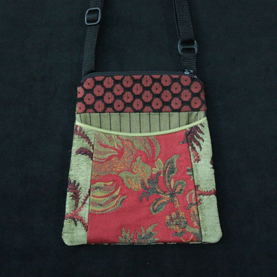 Rustic Tapestry Adjustable Purse in Salmon and Sage Jacquard Upholstery Fabric