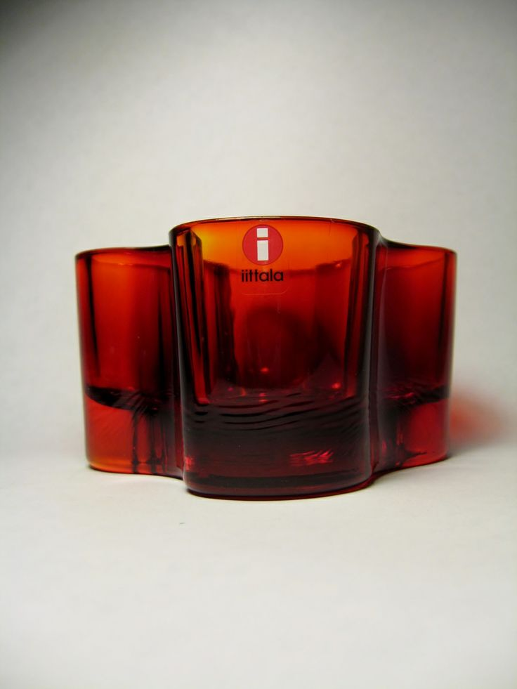 ALVAR AALTO FOR IITTALA - FINLAND   _______________________  MAKER:IITTALA  DESIGNER:ALVAR AALTO  LINE:AALTO   TYPE:VOTIVE   COLOR:FLAMING RED  ORIGIN OF COUNTRY:FINLAND  YEAR INTRODUCED: 1936  in my collection since last summer.