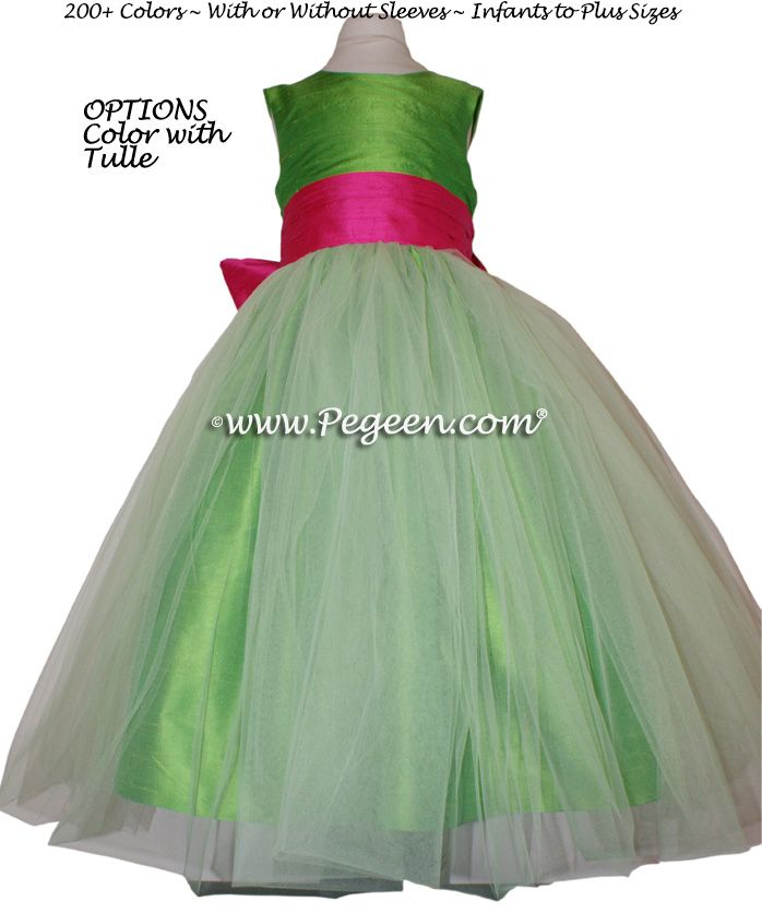 Lime green and pink bridesmaid dresses wedding | Shock (hot pink) and Key Lime Flower Girl Dresses