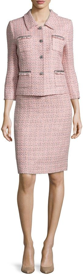 Tahari Three-Quarter Sleeve Tweed Skirt Suit, Pink/Black
