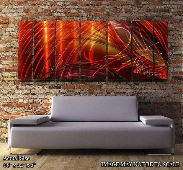 Original Hand Painted Dynamic Red Tail Spin II Metal #Abstract Wall #Art #MCM