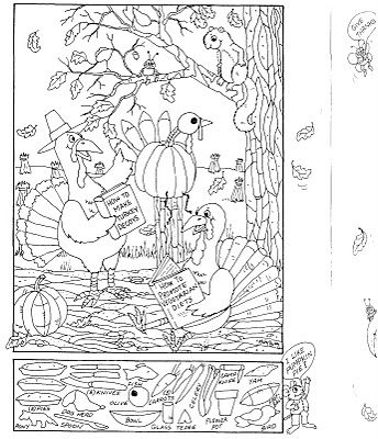 Coloring Page and Hidden Picture Puzzle for Thanksgiving - Pinned by @PediaStaff – Please visit http://ht.ly/63sNt for all (hundreds of) our pediatric therapy pins