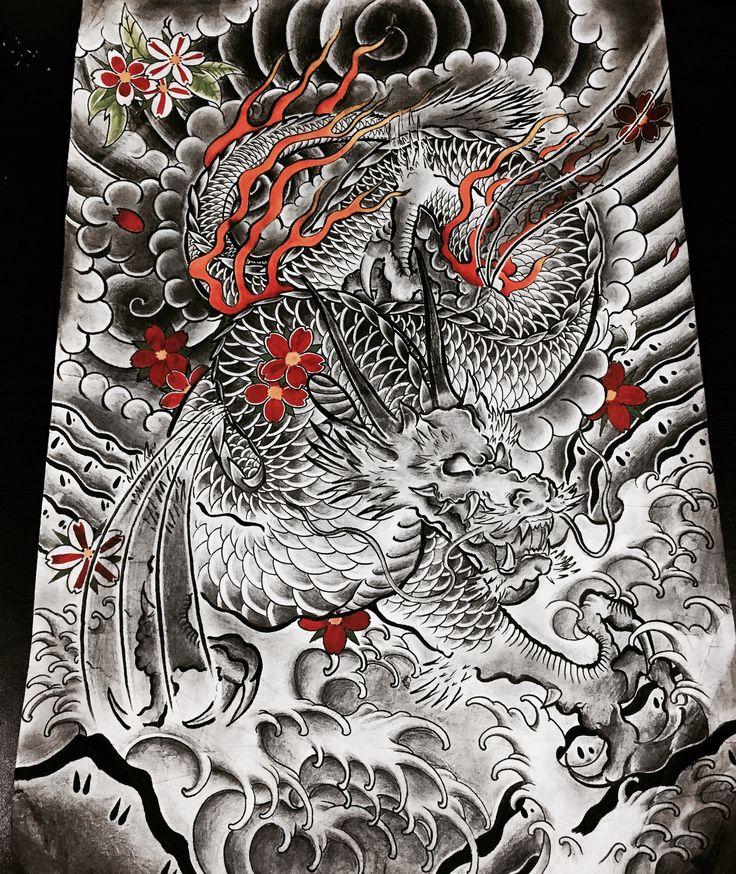 irezumi japanese tattoo dragon sakura