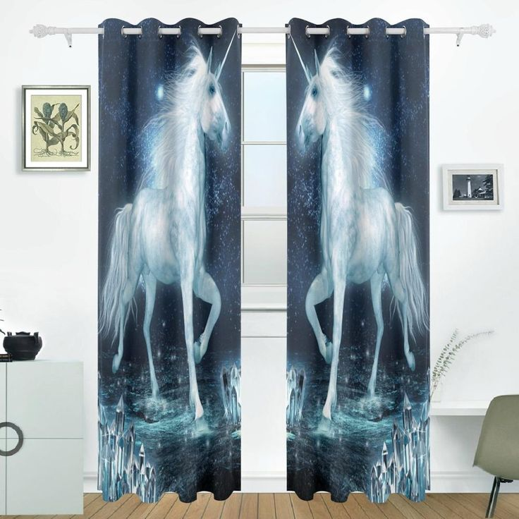 Unicorn Running Curtains Drapes Panels Darkening Blackout Grommet Room Divider for Patio Window Sliding Glass Door 55x84 Inches #Affiliate