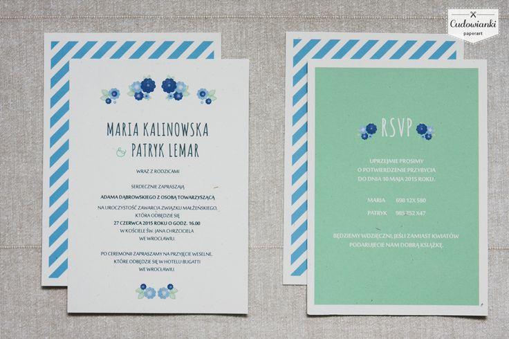 http://cudowianki.pl/blekit-paryski/  Simple, modern, beautiful wedding invitation by Cudowianki. | Nowoczesne zaproszenia ślubne w stylu eko by Cudowianki.