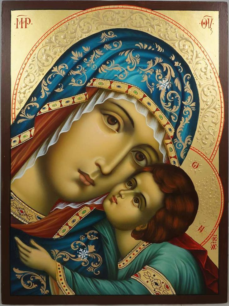 Virgin of Tenderness Hand-Painted Byzantine Icon