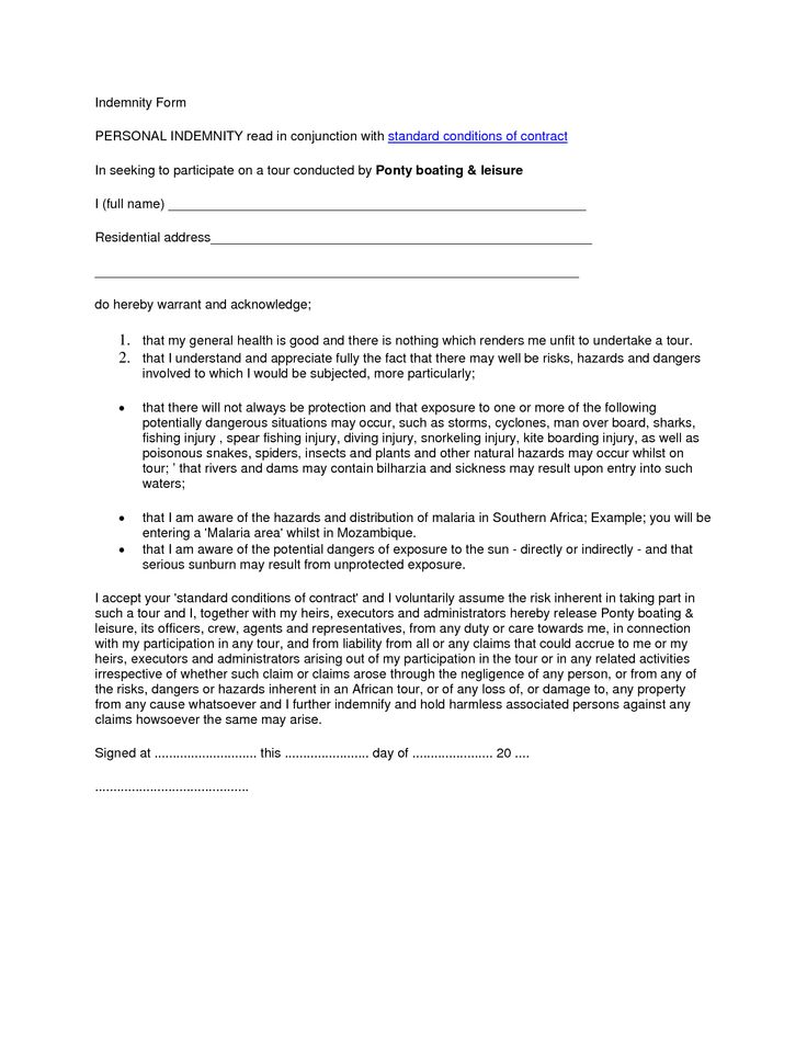 Indemnity Forms] Sample Indemnity Agreement Form Templatepng, U ...