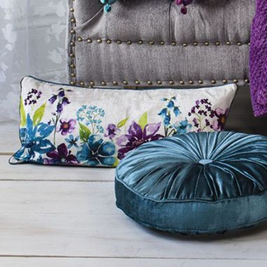 Isabella Rectangle Plum Floral Cushion - £35 | brandinteriors.co.uk