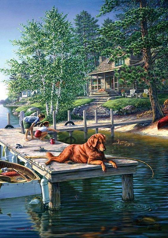 James Meger, artist ~ cabin ~ lake ~ dog on dock ~ kids