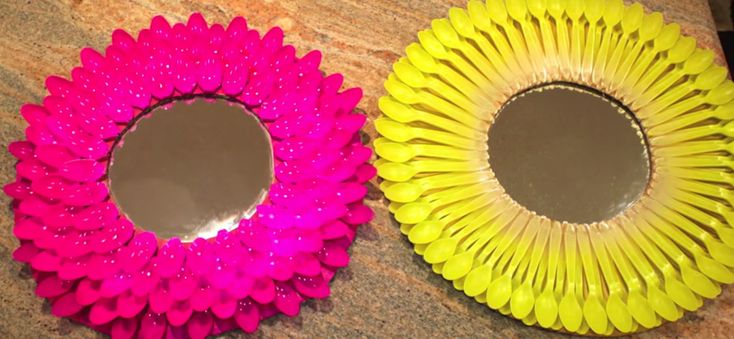 C mo hacer originales espejos con cucharas de pl stico - Espejos para manualidades ...