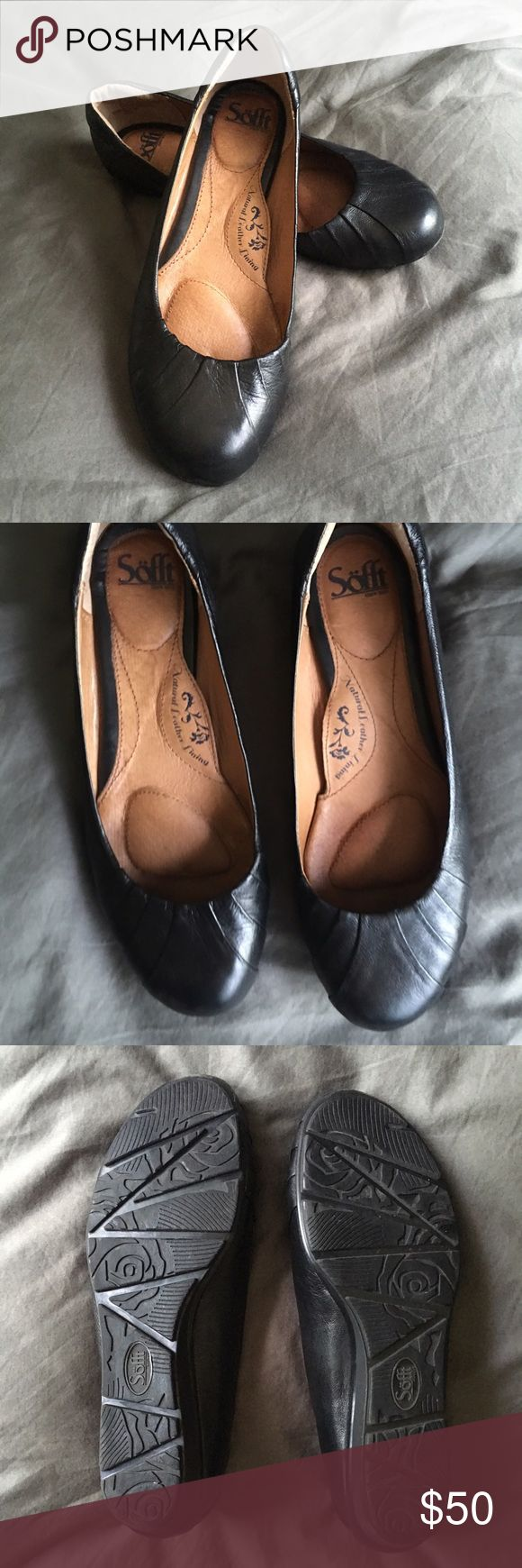 Sofft Vanna mini wedge flats These wear like tanks. I have worn them to the office for a few weeks now with no signs of wear at all. I love them but (TMI) they don't agree with my bunions ☹️ Leather, leather lined. Sofft Shoes Flats & Loafers