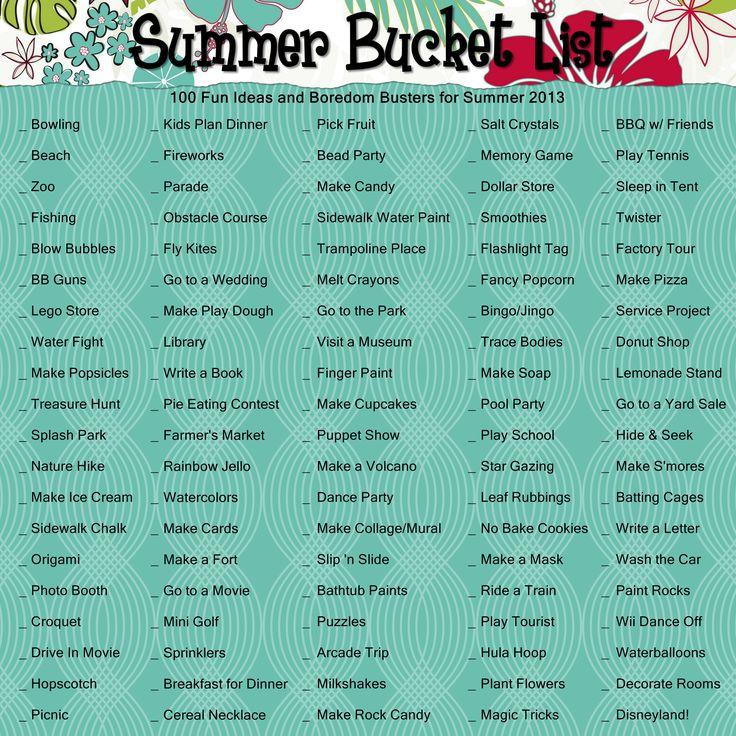 Summer Bucket List made using Creative Memories Storybook Creator program.