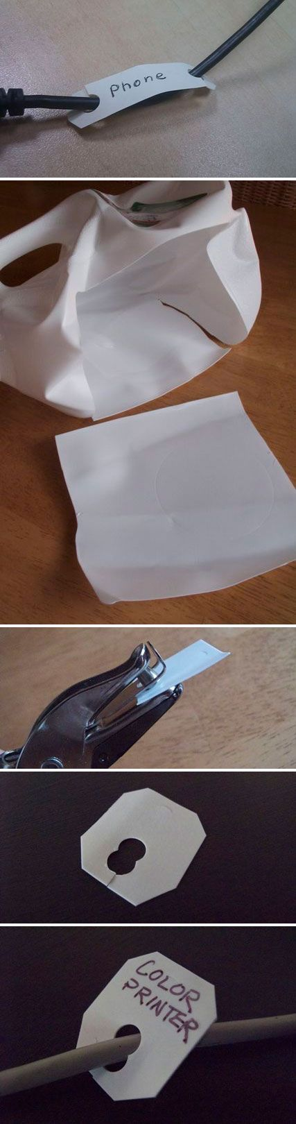 """LABEL :: How to make DIY """"Bread Clips"""" to organize your cables using a milk jug and hole punch!"""