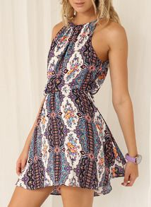 White Spaghetti Strap Tribal Print Dress