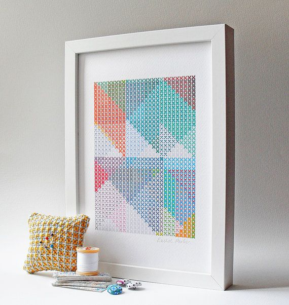A4 Geometric Art Print digital cross-stitch by PixelAndThread