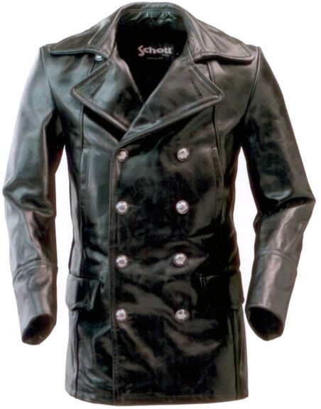 Schott NYC 650 Double Breasted Peacoat Style Leather Jacket