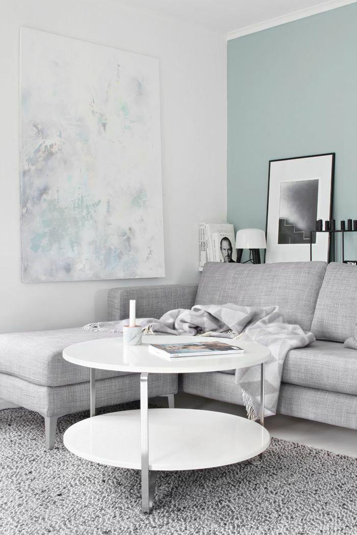 living room grey sofa duck egg walls