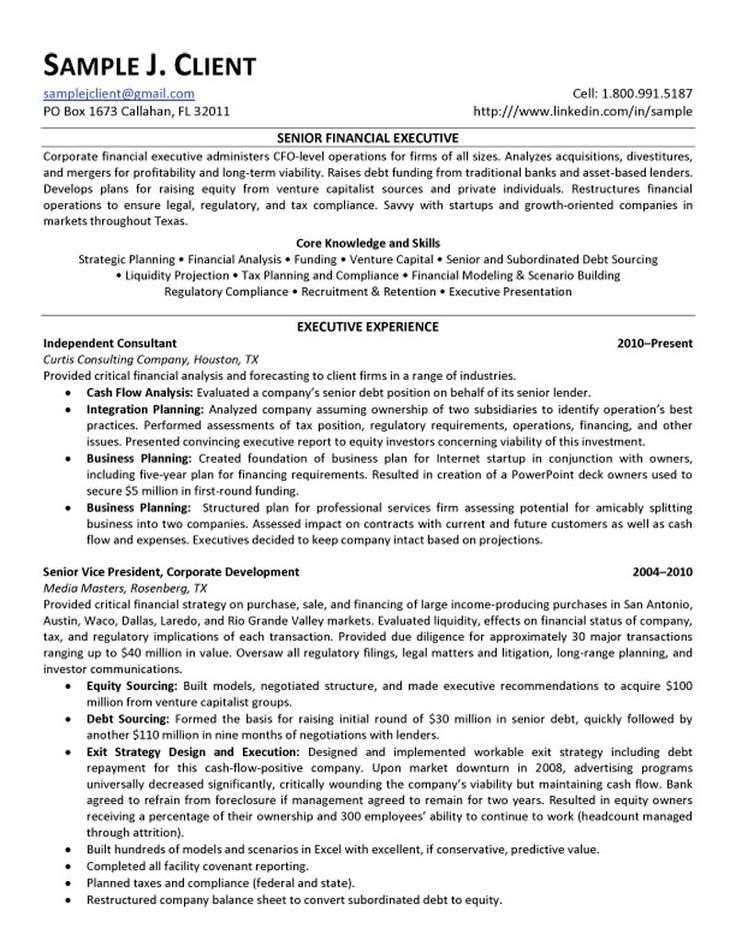 Senior Financial Executive Resume intended for Mergers And