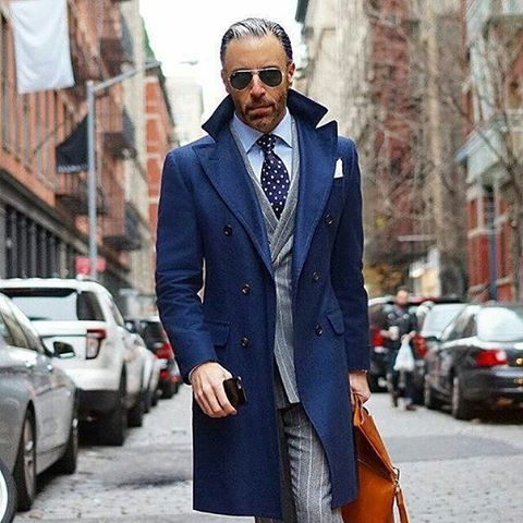 blue overcoat ...