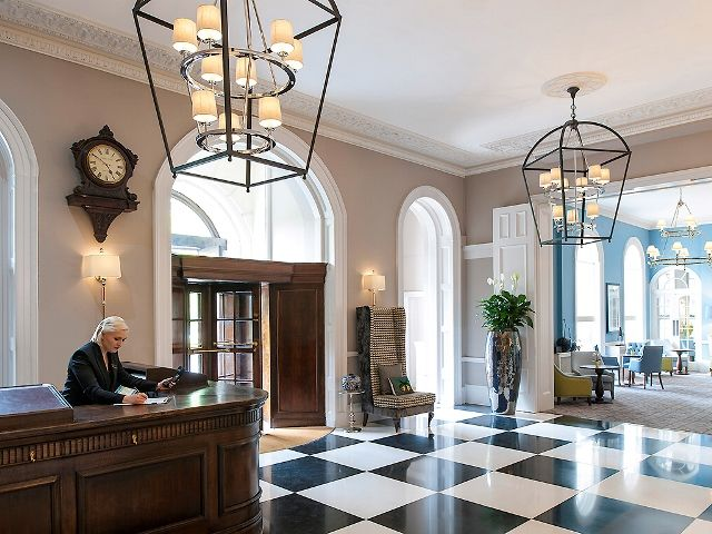 Oversized Bespoke lanterns at Queens Hotel Cheltenham MGallery Collection
