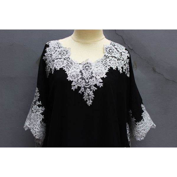 Stunning Black Tunic Dress Fancy Silver Brocade Tops Plus Size Short... (50 CAD) ❤ liked on Polyvore featuring tops, tunics, silver top, women plus size tops, short caftan, short kaftan and kaftan tunic