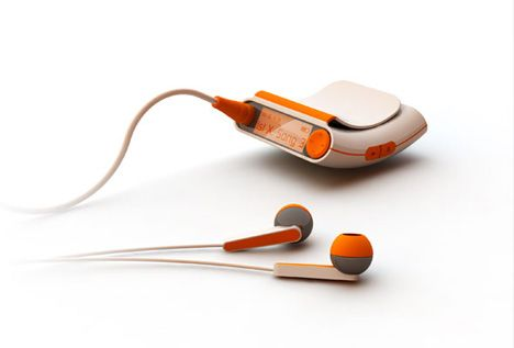 the Mp3 Pocket Player, designed to be comfortably used while worn in the trouser pocket. Due to the curved shape all relevant controls and the display are visible, no matter if the user is sitting or walking.    Designer: Matthias Lange