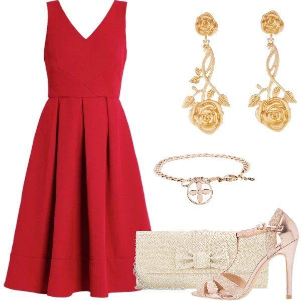 Un bellissimo abito rosso, con scollo a V e pieghe sul fondo. Lo abbiniamo a dei sandali color oro, una borsa con fiocco, color oro, orecchini pendenti con motivo floreale e bracciale semplice, color oro.