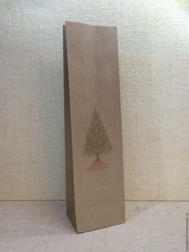 Купить Крафт пакет с рисунком 9х33 см - бумажный пакет, пакет, пакет для мыла