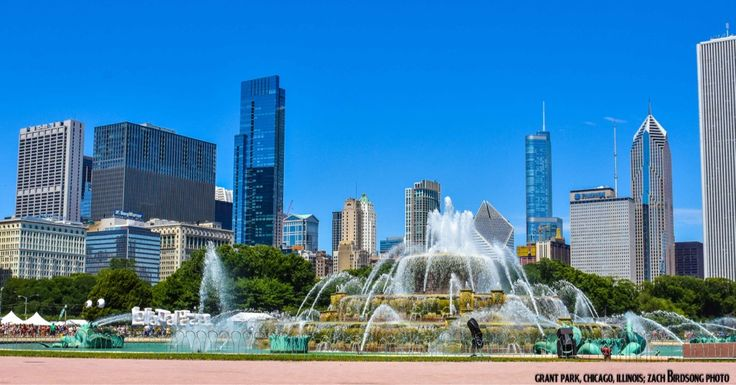 Grant Park in Chicago Illinois Sunday Morning of Lollapalooza 2015 [4989x2610]