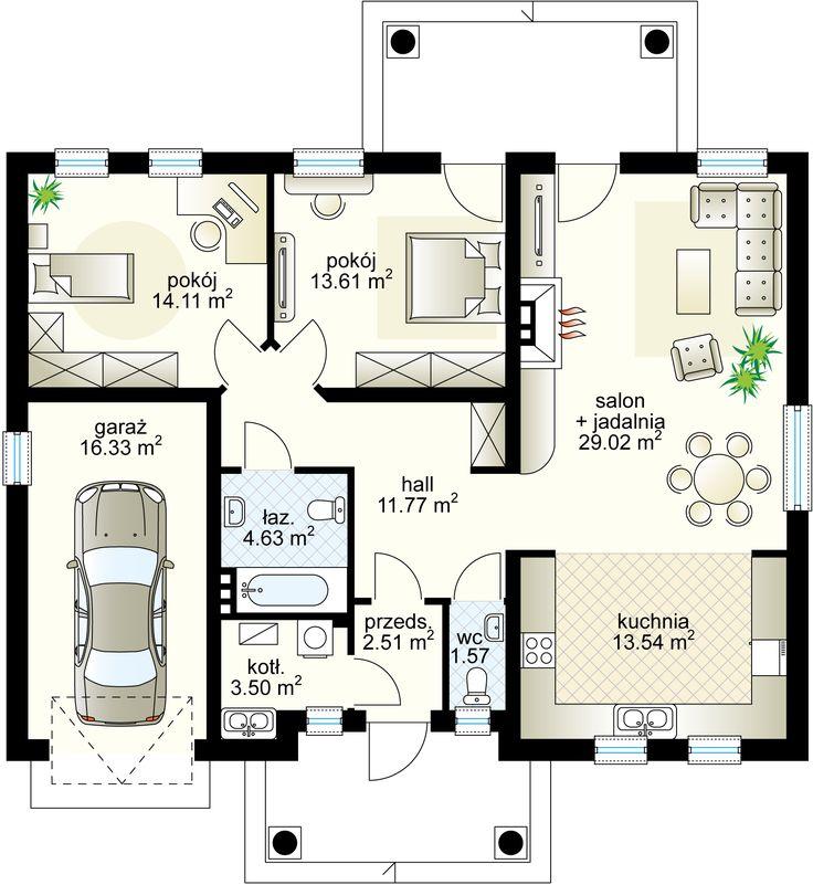 Azyl projekt - Parter 94.37 m²  + garaż 16.33 m²