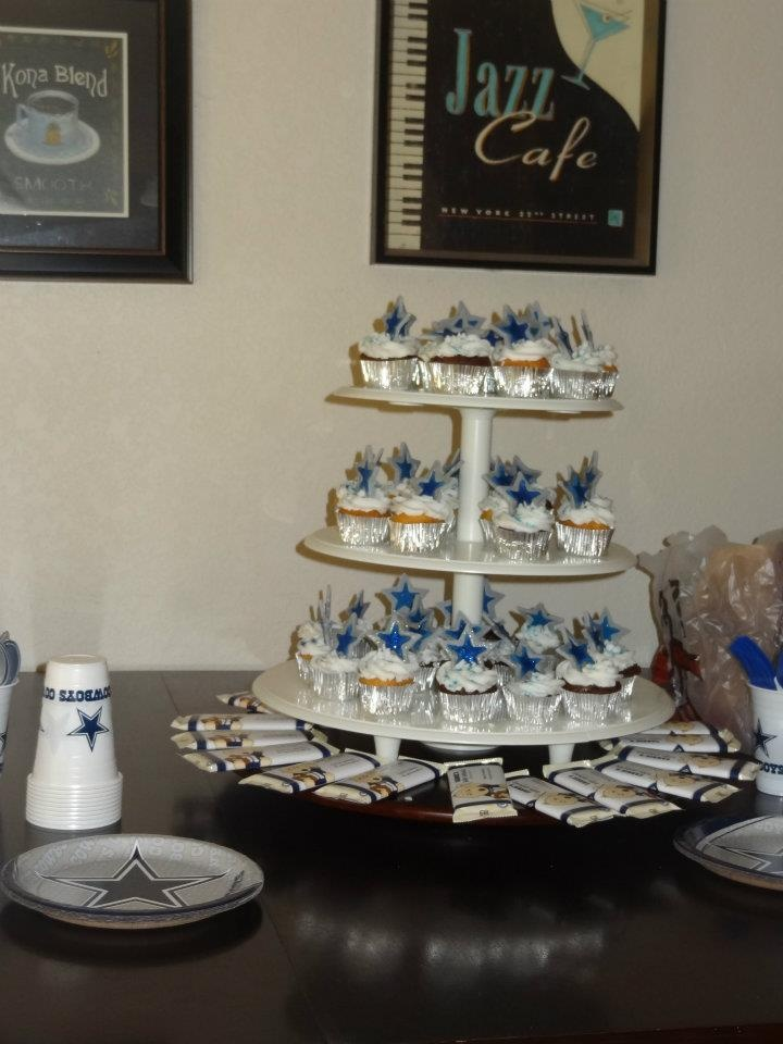 dallas cowboy cupcake tower for a baby boy baby shower we could do