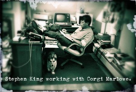 Stephen King working with Corgi Marlowe.