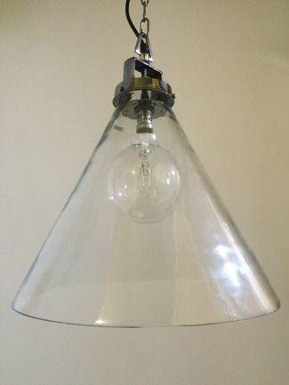 Mr Ralph - Glass Funnel 45cm dia - Nickel/Silver Finish, Pendants $499