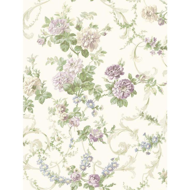 8 in. x 10 in. Villa Purple Floral Tapestry Wallpaper Sample, Beige