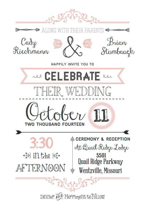 Typography Wedding Invitation. by Enchantedcaders on Etsy, $10.00