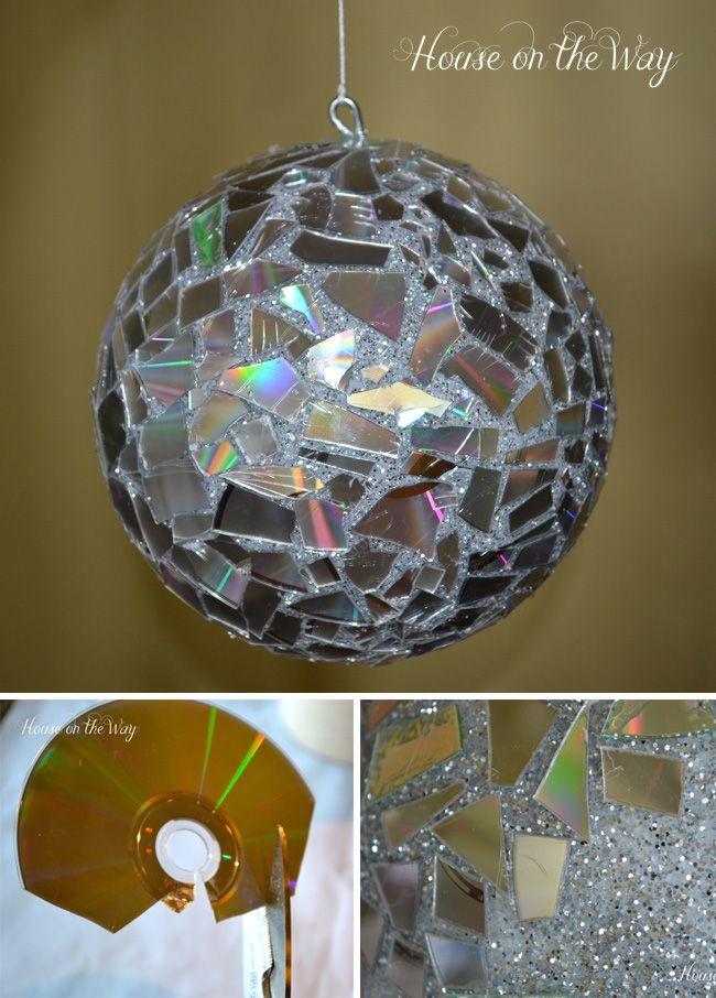 Disco-ball DIY con CDs reciclados / http://www.houseontheway.com/