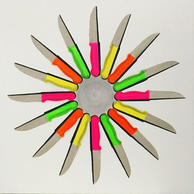 Olmazsa Olmaz sergisi: Şevket Arık - Aşkın Bıçakları, Tuval üzerine akrilik, 73x73cm, 2017