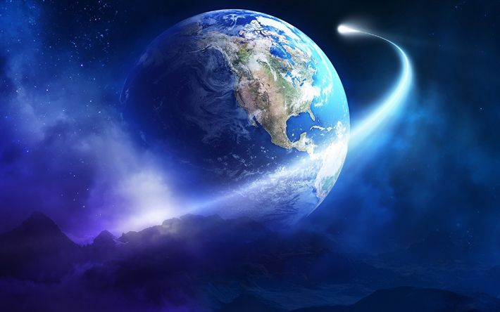 Download wallpapers Earth, comet, galaxy, Sci-Fi, stars, planets, universe