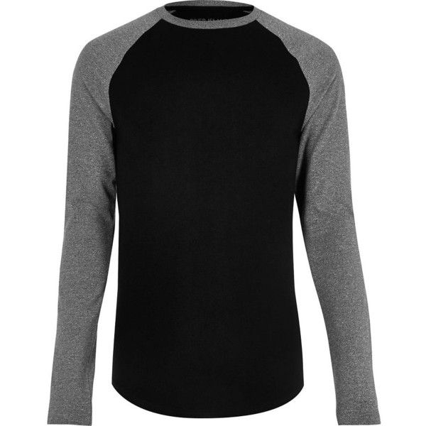River Island Black raglan muscle fit long sleeve T-shirt (915 RUB) ❤ liked on Polyvore featuring men's fashion, men's clothing, men's shirts, men's t-shirts, black, j crew mens shirts, mens crew neck t shirts, mens raglan t shirt, mens long sleeve cotton t shirts and mens long sleeve shirts