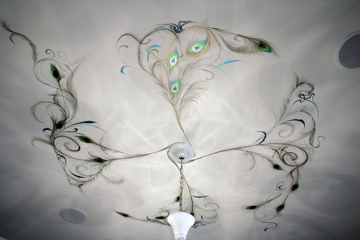 можно рисунки на потолок в стиле модерн фото нетривиальный стильный вариант