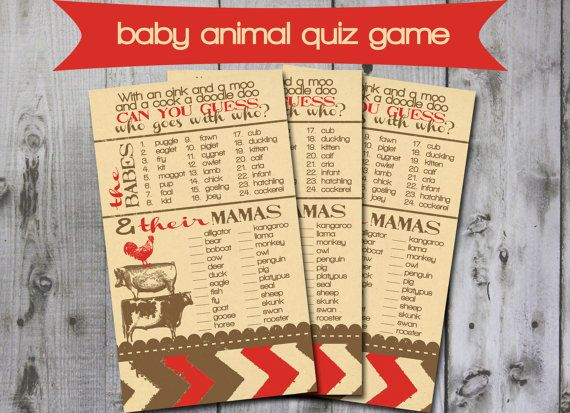 INSTANT DOWNLOAD baby animal quiz shower game by GrayPaperie, $4.00