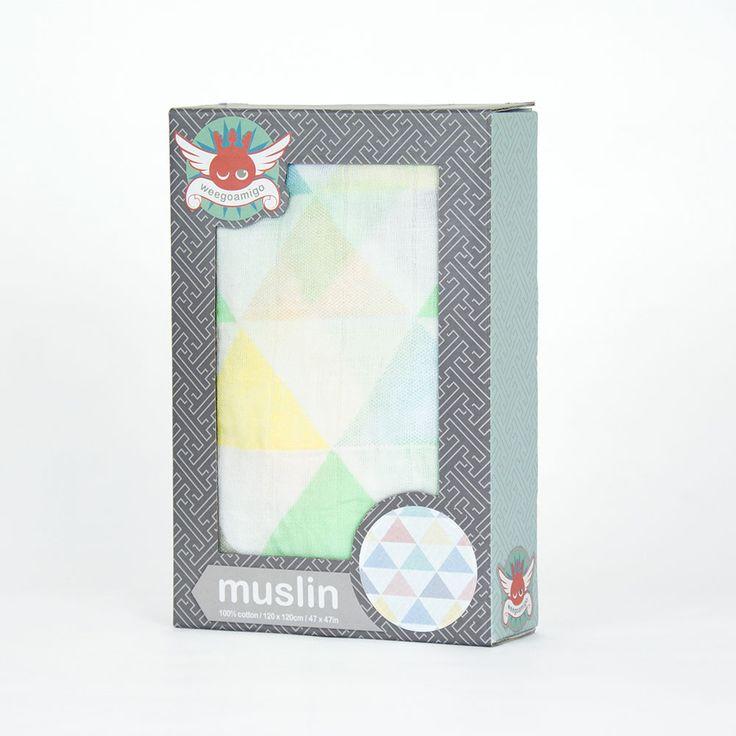 Weegoamigo Printed Baby Muslin - Tri Fun $14.95