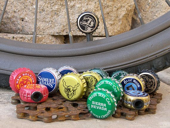 bike tire valve caps from bottle caps. {possible diy}