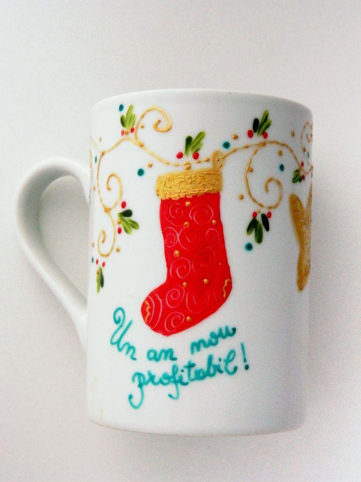 Christmas mug hand painted with an elegant Christmas sock.