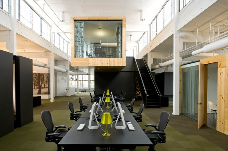 raw office. Cool Office Combining Clean Lines In Black, White And Raw Wood