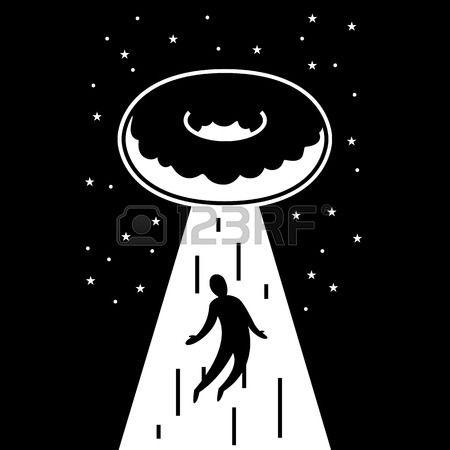UFO Fliegende Donut nimmt Mann im Lichtstrahl der auf dem Hintergrund des Himmels Lizenzfreie Bilder